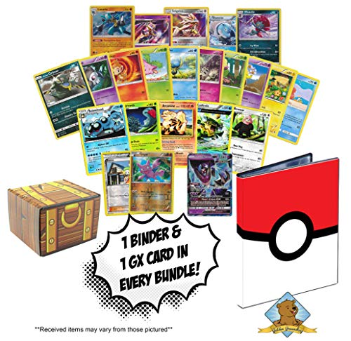 100 Pokemon Cards Featuring Pokeball 4-Pocket Portfolio Binder to Hold and Protect Your Cards - GX - Foils - Holo Rares - Golden Groundhog Treasure Chest Box! image
