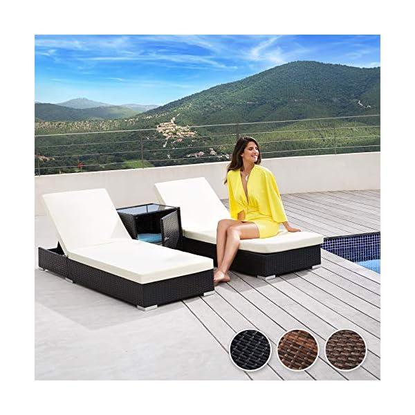 TecTake 403088 2er Set Aluminium Polyrattan Sonnenliege + Tisch, inkl. Schutzhüllen und 2 Bezugsets, Edelstahlschrauben…