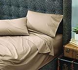 Cuddledown Dreamstead - Cama Individual Suave, 100% algodón, satén de Lujo, Incluye sábana Bajera y Funda de Almohada, Color Caqui