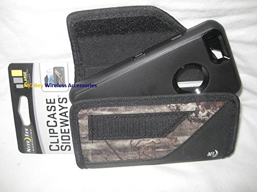 Nite Ize Black Extended Sideways Camouflage Mossy Oak Ballistic Horizontal Rugged Heavy Duty X-large Cover Case W/Durable Fixed Belt Clip Fits Sprint At&t/ Verizon /T-mobile / U.S. Cellular/ Boost Mobile Apple Iphone 6 4.7in. Otterbox Commuter/Defender