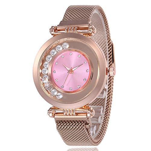 SANDA Reloj Mujer,Reloj de Mujer de Moda Reloj de Pulsera de Bola de Superficie Multicolor con Carcasa de aleación Ultrafina Reloj de Cuarzo Simple y versátil-Fideos Dorados