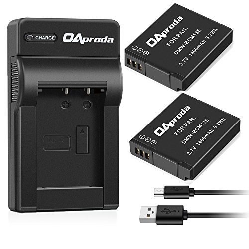 OAproda DMW-BCM13 Battery (2 Pack) and Micro USB Battery Charger for Panasonic Lumix BCM13, BCM13E, DMC-ZS30, DMC-ZS35, DMC-ZS40, DMC-ZS45, DMC-ZS50, DMC-FT5A, DMC-LZ40, DMC-TS5
