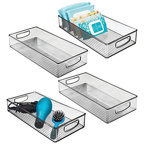 mDesign Set da 4 Contenitori per il bagno – Organizer in plastica per cosmetici, prodotti bagno e molto altro – Grande cesto per il bagno con manici integrati – grigio fumo