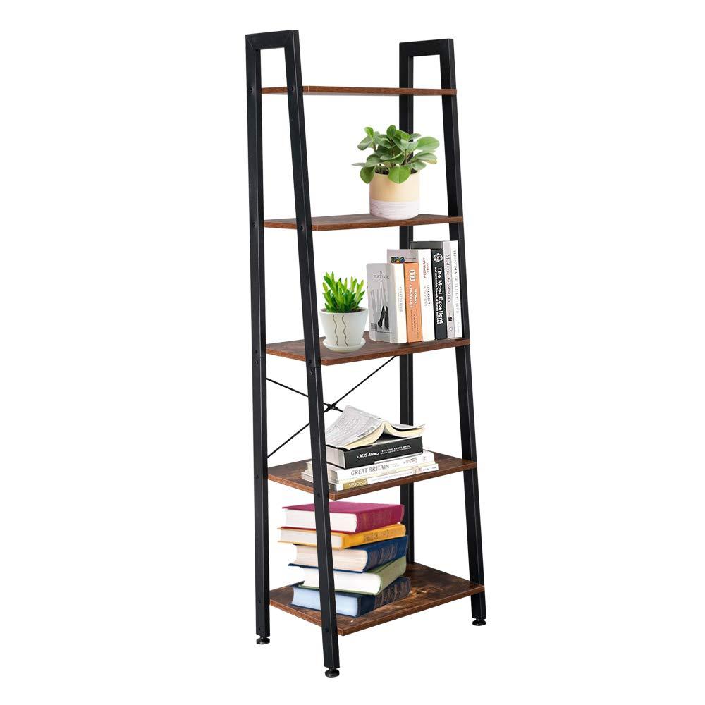 Bookshelf Rack 5 Tier Bookcase Shelf Storage Organizer Wood Look Metal Frame