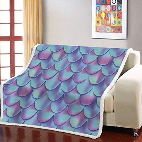 Manta Estampada Escamas Azul Violeta Terciopelo de Cristal Lateral A, Terciopelo de Lana Blanca Lado B (130 x 150 cm) para Sala de Estar, hogar,