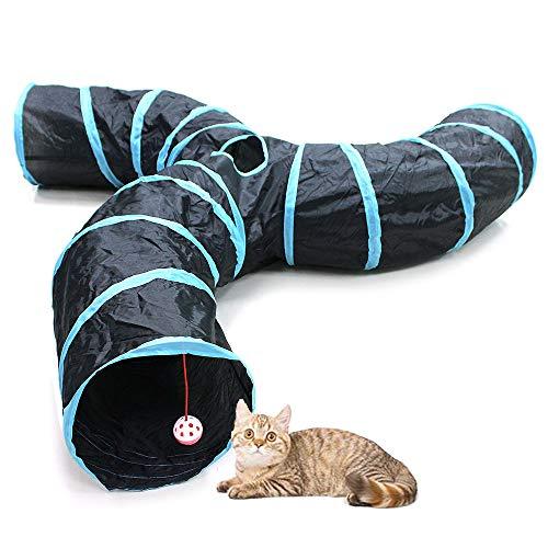Bemodst Katzentunnel, 2-Wege/3-Wege/4-Wege/5-Wege Faltbar Kätzchen Tunnel Katzenspielzeug interaktives Pop-Up-Labyrinthhaus-Spielzeug für kleine Kaninchen,Welpen,Frettchen,Meerschweinchen (3-Wege)