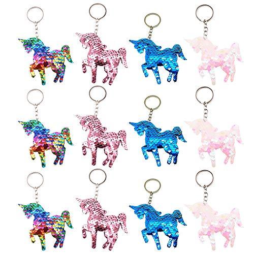 QearFun Unicornio Personalizado llaveros para niñas Flippy Lentejuelas Arco Iris Llavero Mujeres Bolso Colgante Regalos para los niños, Partido de Las niñas Rellenos Bolsa