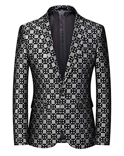 MOGU Mens Blazer Plaid Print Slim Fit Casual Sport Caots Jacket for Daily Prom Party US Size 44 Silver