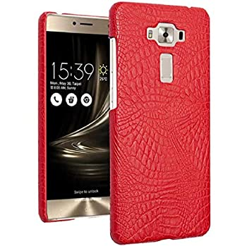 Zenfone 3 Deluxe 5.5  ZS550KL/ZS550ML Pure Color Case Layout Crocodilian Touch Cayman Alligator New Slim Cover DANGE Artificial Light Hard Thin Case For Zenfone 3 Deluxe 5.5  Red