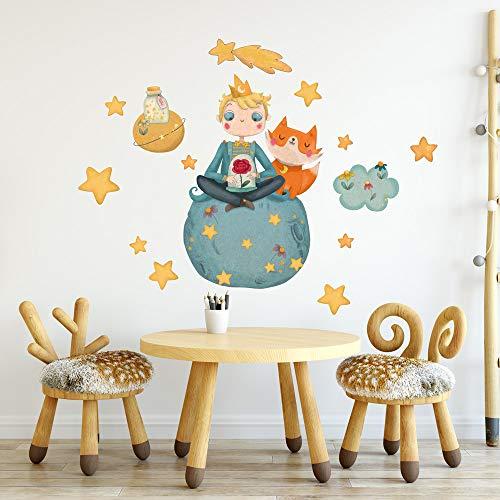 R00370 Adesivi Murali Stelle Nuvole Pianeti Piccolo Principe Decorazione Muro, Cameretta Bambino, Asilo Nido, Camera Letto, Carta da Parati Adesiva Effetto Tessuto