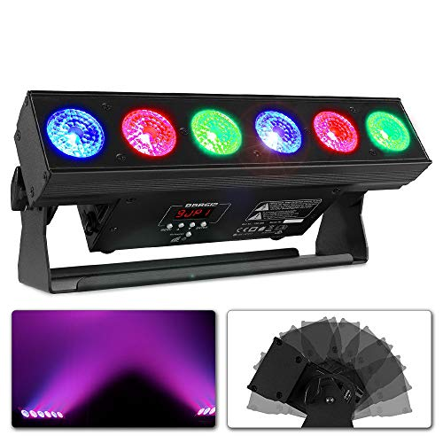 Beamz BBB612 Battery Bar - 55W, 6x 12W 6in1 RGBAW-UV LEDs, DMX- oder Standalone-Modus, 2, 6, 8, 11, 36 oder 38 DMX-Kanäle, Betriebszeit: 20 Stunden, Ladezeit: 5 Stunden, 0-100% Dimmer, schwarz
