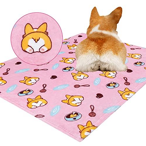Chyang Manta mullida para perro, cálida y suave, manta de forro polar para perros pequeños, medianos y grandes, lavable, 100 veces; 120 cm, gris (color: rosa corgi, tamaño: 80 x 100 cm)