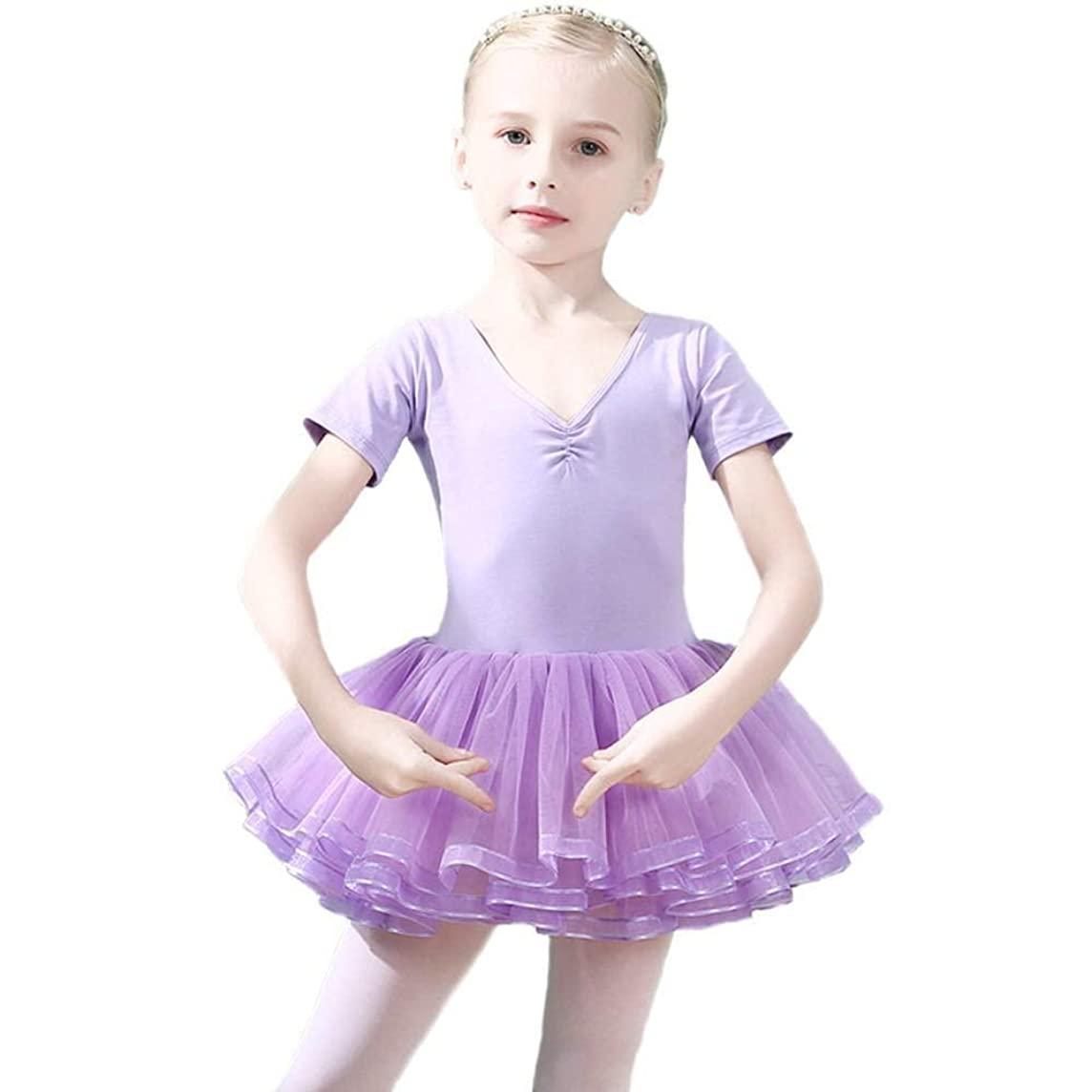 Winzero Girls Ballet Tutu Slim Dress Short Sleeve Soft Cotton with Back Bow-knot for Dancing Athletic Leotards Age 4-9 Years