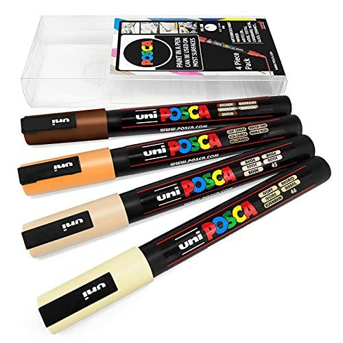Uni POSCA PC-3M - Rotuladores de pintura artística, 4 unidades, en cartera de plástico, tonos neutros cálidos