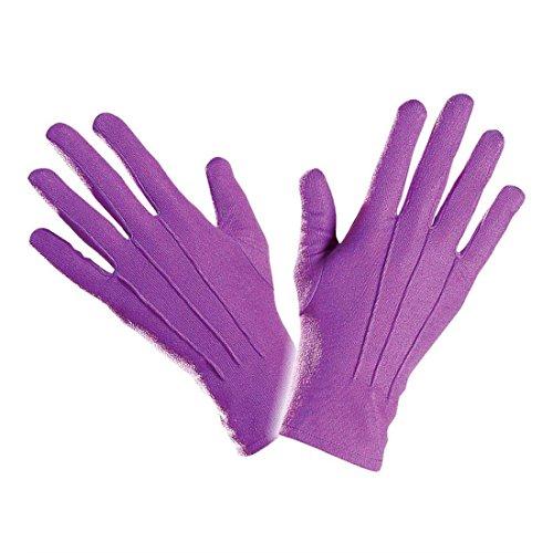 NET TOYS Kurze Handschuhe lila Damenhandschuhe Kostüm Zubehör Damen Karnevalhandschuhe Faschingshandschuhe