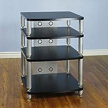 VTI 34000 Series Professional Audio Rack (Silver Poles Black Shelves) 34664