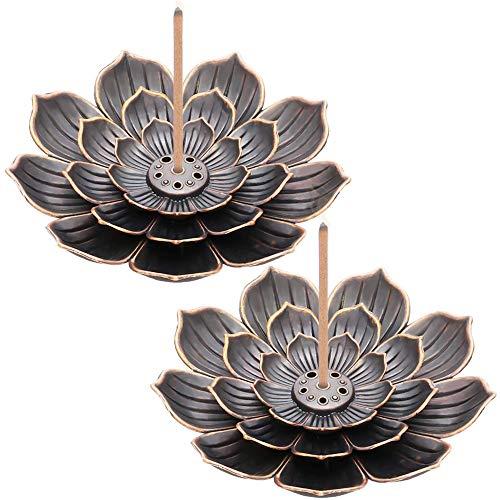 Xkfgcm 2 Stück Lotus Stick Räuchergefäß Weihrauchhalter Brenner Lotus Weihrauchbrenner Weihrauchbrenner Räuchergefäss Duft Zubehör mit abnehmbarem Aschefänger (Retro)