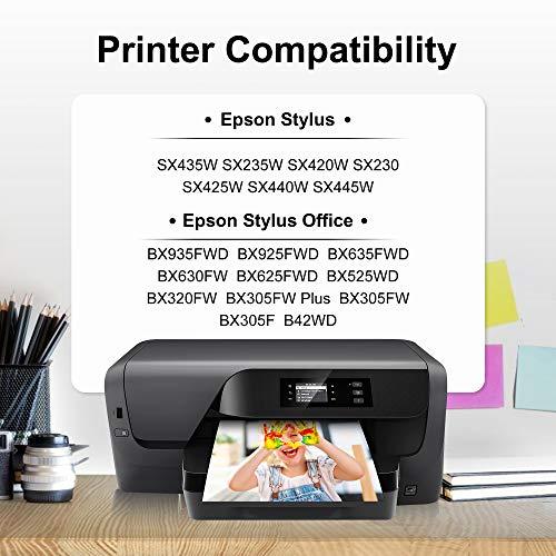 Gohepi Reemplazo para Epson T1291 T1292 T1293 T1294 T1295 Cartuchos de tinta Compatible con Epson Stylus SX420W SX445W SX425W SX535WD SX235W SX430W SX230 SX435W Office BX305F BX305FW Plus WF-7515