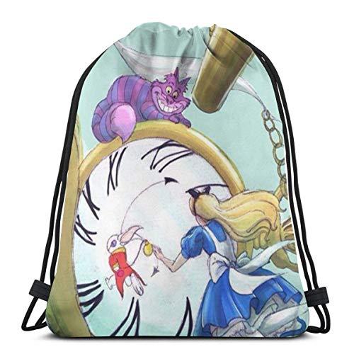 IUBBKI Classic Drawstring Bag-Wonderland Alice Gym Zaino Borse a tracolla Borsa sportiva per uomo donna