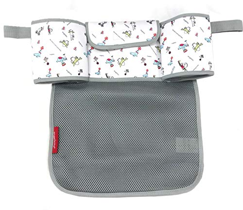 【angelette】Stroller Organizer with Cup Holders (Double Insulated), Storage Space for iPhones, Wallets, Diapers, Toys, iPads (Circus Animal)