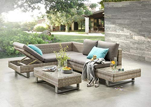 Beauty.Scouts Outdoor Collar Edition Aliana Sofa Set Natural / Taupe with Upholstery, Corner Bench, Sofa Table, Garden Set, Patio Set, Garden Furniture, Balcony Furniture