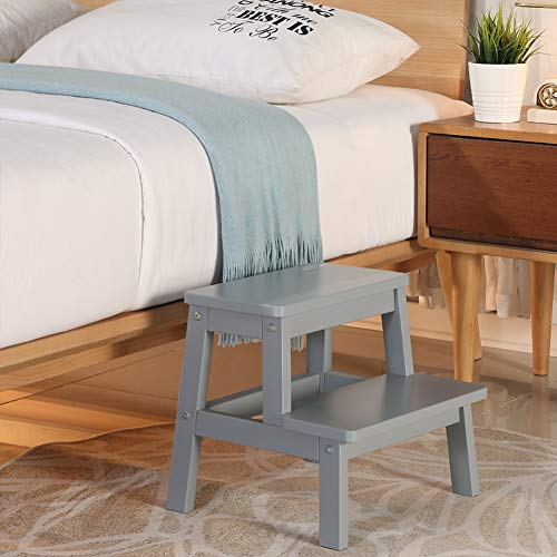 HOUCHICS MultiPurpose Kids 2Step Wood Step Stool with 260lb Load Capacity Wooden Bedside Step Stool Adults for KitchenBathroom Gray