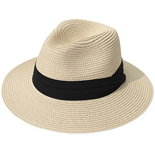 DRESHOW Sombrero de mujer con ala ancha Straw Panama Roll up Sombrero de playa Fedora UPF 50 +