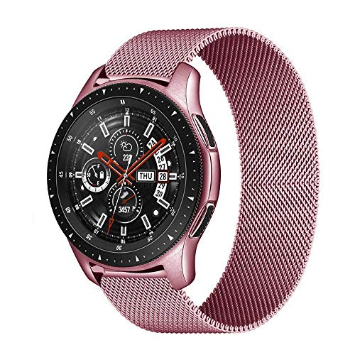 SGGFA MILANESE Boop 20mm 22mm Strap para Samsung Galaxy Watch 3 45mm 46mm Gear S3 Frontier Active 2 42mm Pulsera para Huawei GT / 2/2E (Band Color : Rose Gold, Band Width : 22mm)