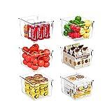 Huolewa Set of 6 Refrigerator Organizer Bins Pantry Storage Bins Clear Plastic Storage Bins with Handle for Fridge, Freezer, Kitchen Countertops, Cabinets - Medium