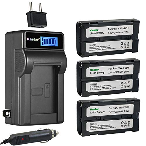 Kastar 3-Pack BDC58 Battery and LCD AC Charger Compatible with Topcon Instruments FX Series, SETX Series, SRX Series, SX Series, GPS GRX1, GRX2, SRX, Sokkia 610 Total Station, Hitachi VLH100L, VM645LA -  CHL-3B-BDC58-F