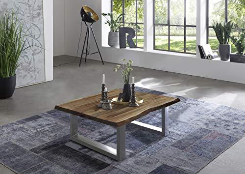 SAM Couchtisch 80 x 80 cm Quintus, echte Baumkante, massiver Beistelltisch aus Akazienholz, naturfarben, Metallgestell Silber