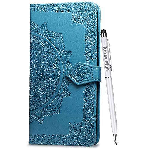 Xmas Mall Asus Zenfone 2 Laser 5.5 Hülle ZE550KL,[Ständer Funktion][Relief Mandala][Vintage Stil][Geschenk Dual-benutzen Stift] Prämie PU Leder Handyhülle Schutzhülle - Blau