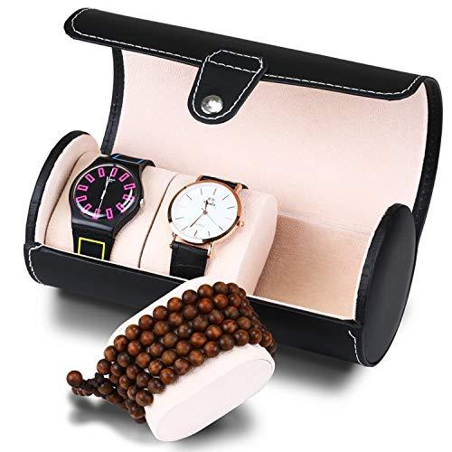 Asvert uhrenrolle 3 Slots der zylindrische Uhrenbox Uhrenkoffer Uhrenkasten Uhrenschatulle schmuckaufbewahrung PU Leder Schmucksachespeicherkasten Uhrenbox,Schwarz
