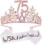 75th Birthday Gifts for Women, 75th Birthday Tiara and Sash, 75 Fabulous Sash and Crystal Tiara, 75th Birthday Decorations for Women, 75th Birthday Party Supplies, Happy 75th Birthday