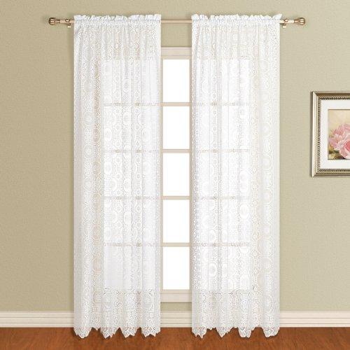 United Curtain New Rochelle Lace Finestra Tenda a Pannello, 56da 213,4cm, Bianco