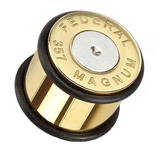 Piersando Ohr Plug Piercing Edelstahl vergoldet Flesh Tunnel Ohrplug Ohrpiercing Pistole Fake Patrone Magnum Silber Gold 8mm
