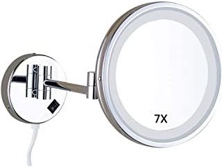 Home Vanity Mirror Dressing Table Makeup Mirror Wall-Mounted Shaving Mirror LED Lighted 7X Magnification 85-Inch Round Bathroom Extendable Mirrors