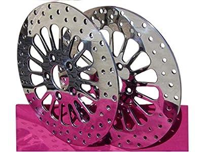 """Kcint 11.5"""" Dna Super Spoke Polished Brake Rotors Front & Rear Pair Parts For Harley Chopper"""