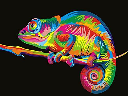 Malen Nach Zahlen Für Erwachsene, Paint by Numbers Set für Erwachsene und Anfänger DIY Handgemalt Ölgemälde Kits auf Leinwand Geschenk 40 * 50 cm-Ohne Rahmen (Farbe Tier Chamäleon)Bunt Eidechse