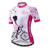 Maillot de ciclismo para mujer, manga corta, camiseta de montaña, cómodo de secado rápido - - etiqueta XL