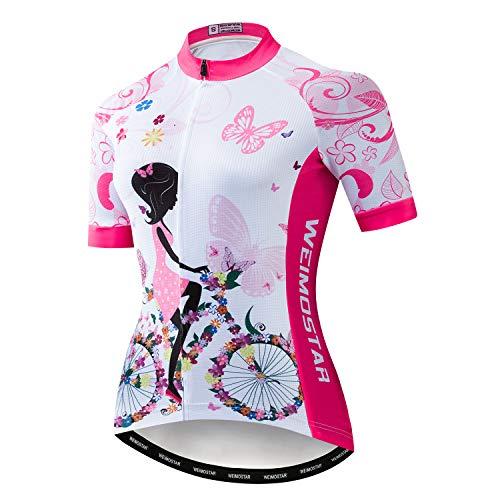 Radtrikot Damen Bike Trikot 2019 MTB Fahrrad Trikot Team Racing Tops - Pink - Etikett M (Brust 81/ 88 cm)