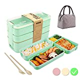 Bento Box Japanese Lunch Box with Dividers 900 ml - Leakproof Eco lunchbox for Kids and Adults with...