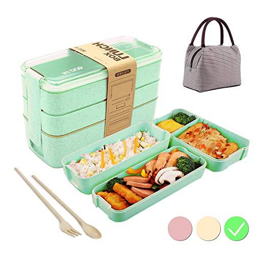 Caja de Bento con Bolsa Aislante,Lunch Box Infantil,Fiambreras con 3 Compartimentos,Cuchara Tenedor Lonchera,Fiambreras Caja de Almuerzo Ideal para Microondas(Verde)