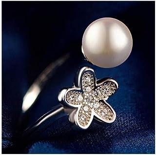 lem Abrillantador de anillosAnillo Abierto en Forma de Flor de Perla de Agua Dulce Natural de Plata esterlina S925