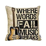 Decorbox Where Words Fall Music Speaks Quote Throw Pillow Case Vintage Cushion Cover Guitar Pillowcase 16X16 Twin Sides