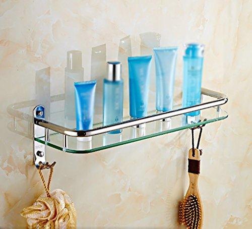 Bathroom Rack YSJ Salle de Bains Verre rectangulaire étagère Murale Verre trempé Extra épais, Section Lumineuse (Taille : 41 * 13.5 * 13.5cm)