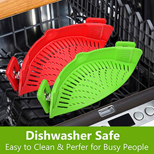 Snap Strainer, 2 PACK Silicone Food Strainers Heat Resistant Clip On Strain Strainer Rice Colander...