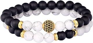 يونججر الطاقة أساور مصنوعة يدويا مجوهرات 8 مم أسود غير لامع الخرز أساور مجموعة للرجال والنساء