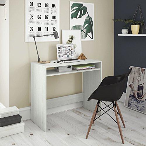 Habitdesign Escritorio, Mesa de Ordenador Acabado en Color Blanco Alpes, Medidas: 79x79x43 cm de Fondo