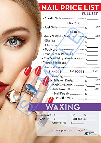 Nail Salon Price List - Nail Salon Poster- Beautiful Poster for Nail Salon, Dimension 27 x 19 Inches Laminated